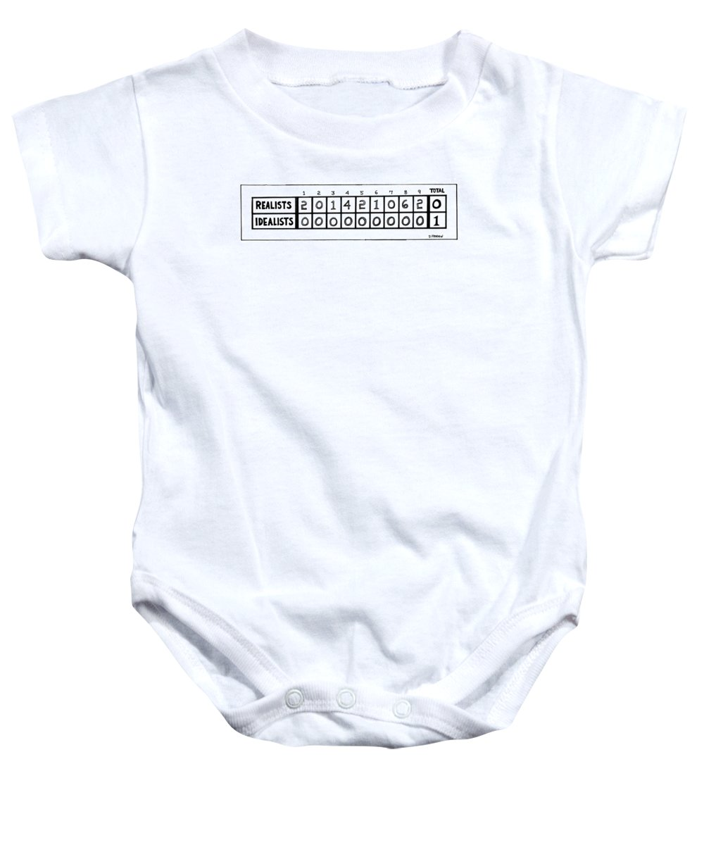 Philosophy Baby Onesie featuring the drawing New Yorker June 28th, 1976 by Dana Fradon