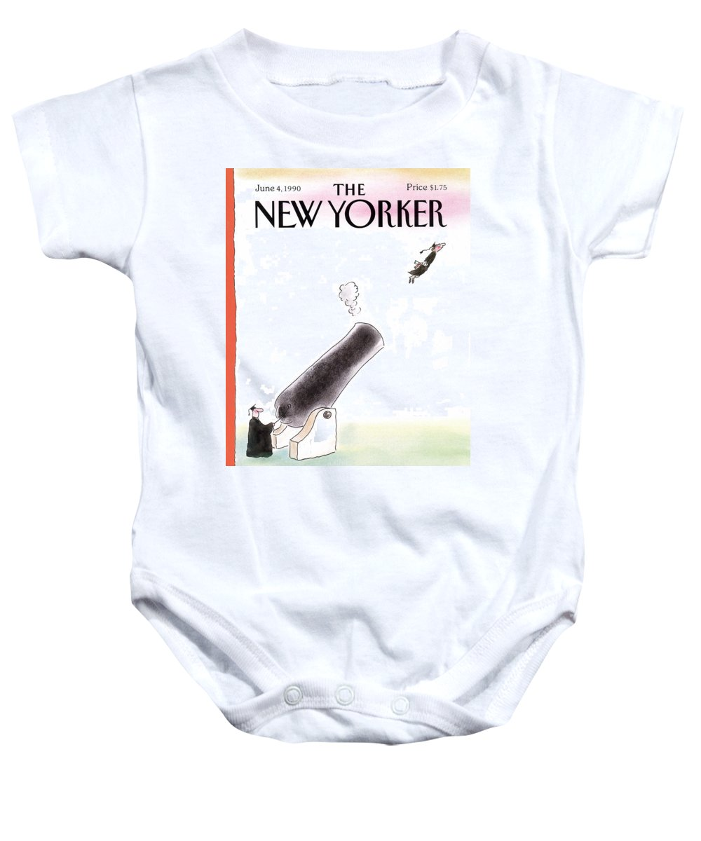 (a Young Graduate Is Shot From A Large Cannon.) Age Baby Onesie featuring the painting New Yorker June 4th, 1990 by Arnie Levin