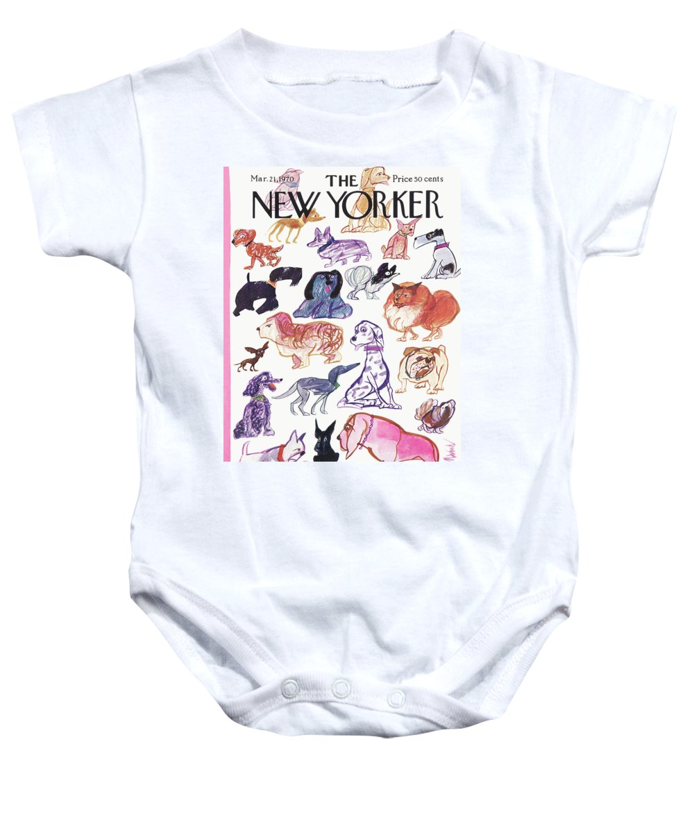 Animals Baby Onesie featuring the painting New Yorker March 21st, 1970 by Kenneth Mahood