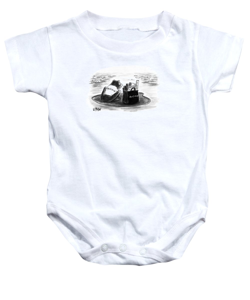 Art Baby Onesie featuring the drawing New Yorker March 5th, 1990 by Warren Miller