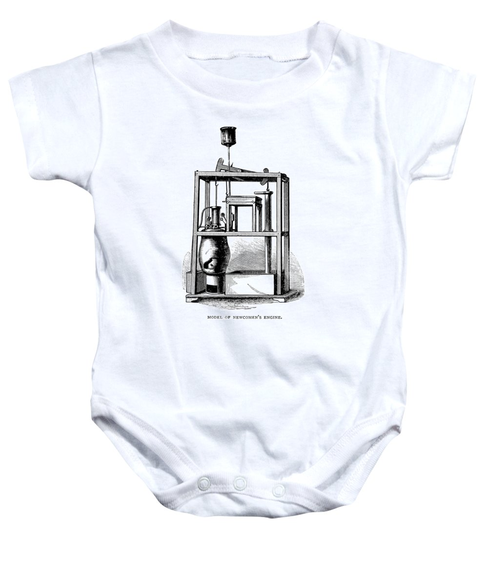 Science Baby Onesie featuring the photograph Newcomens Steam Engine, 18th Century by British Library
