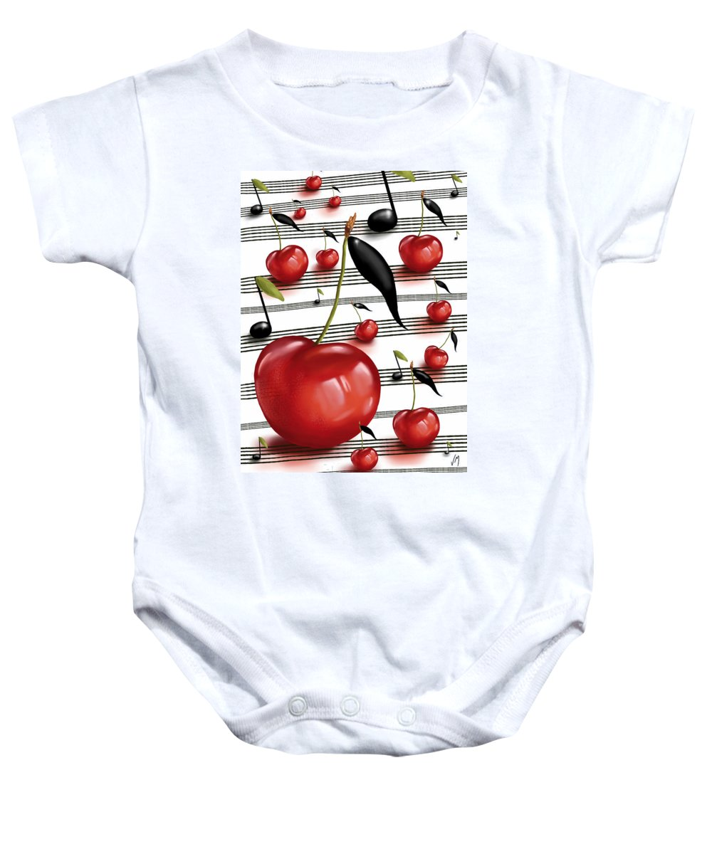 Digital Baby Onesie featuring the painting Notes Of Fruits by Veronica Minozzi