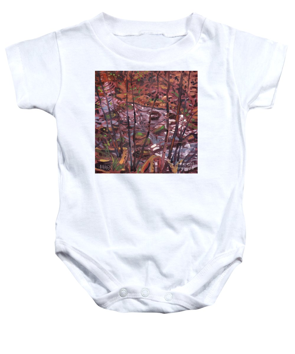 Creek Baby Onesie featuring the painting Suzie's Creek by Donald Maier
