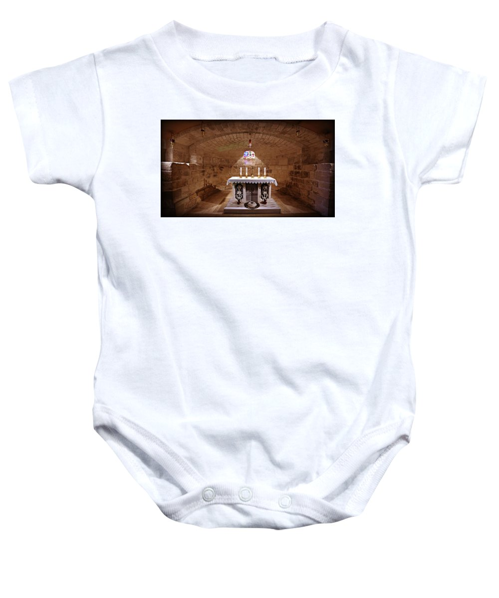 Nazareth Baby Onesie featuring the photograph Obedience - The Church Of Saint Joseph's Carpentry by Stephen Stookey