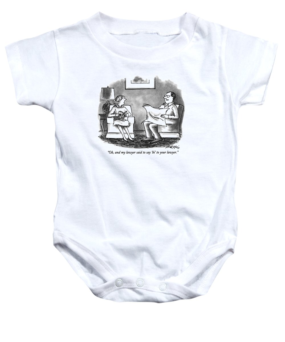 (man Talking To Woman In Living Room) Legal Baby Onesie featuring the drawing Oh, And My Lawyer Said To Say 'hi' To Your Lawyer by Henry Martin