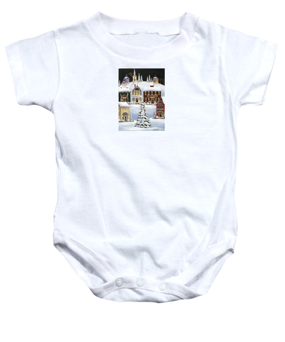 Art Baby Onesie featuring the painting Oh Christmas Tree by Catherine Holman