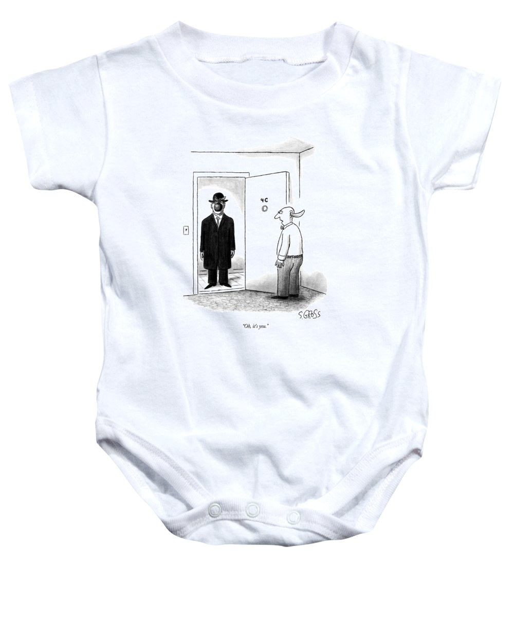 Art Baby Onesie featuring the drawing Oh, It's You by Sam Gross