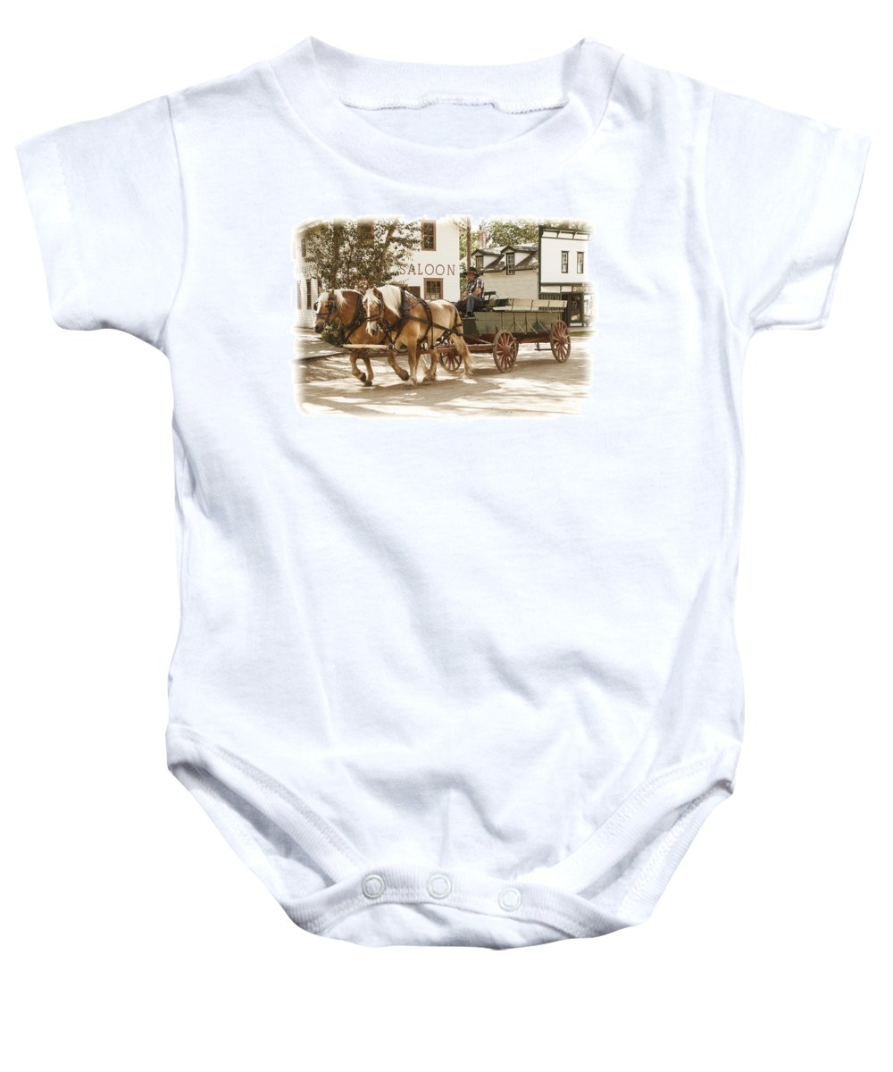 Art Baby Onesie featuring the photograph Old Horse Drawn Wagon At Fort Edmonton Park by Randall Nyhof