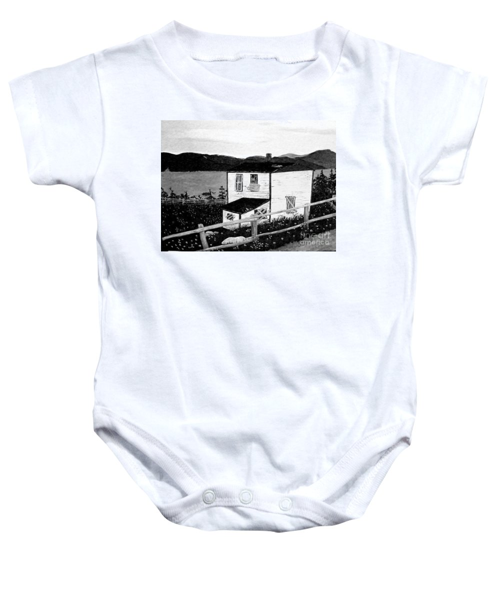 Old House Baby Onesie featuring the painting Old House In Black And White by Barbara Griffin