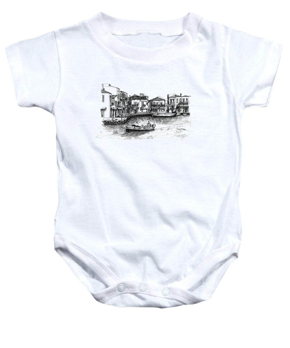 Rapitgraf No. 02 And No. 03 Baby Onesie featuring the drawing Old Port- Rethymno by Franko Brkac