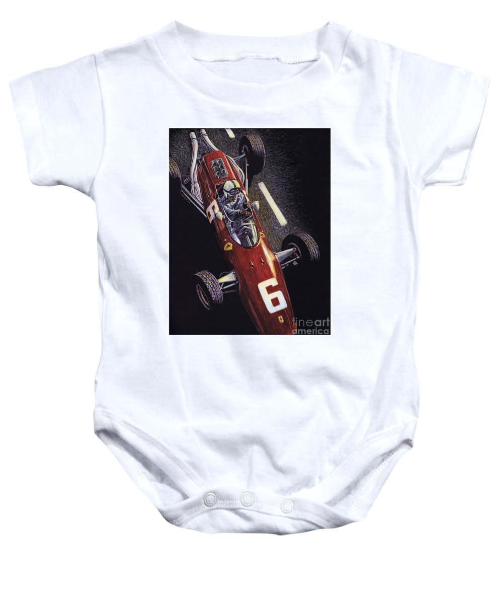 Ferrari Baby Onesie featuring the drawing Old School by Robin DaSilva