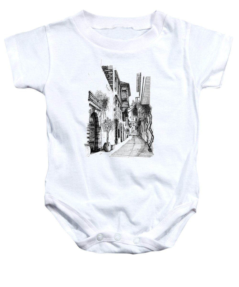 Prespective.arhitekture Baby Onesie featuring the drawing Old Town-rethymno by Franko Brkac