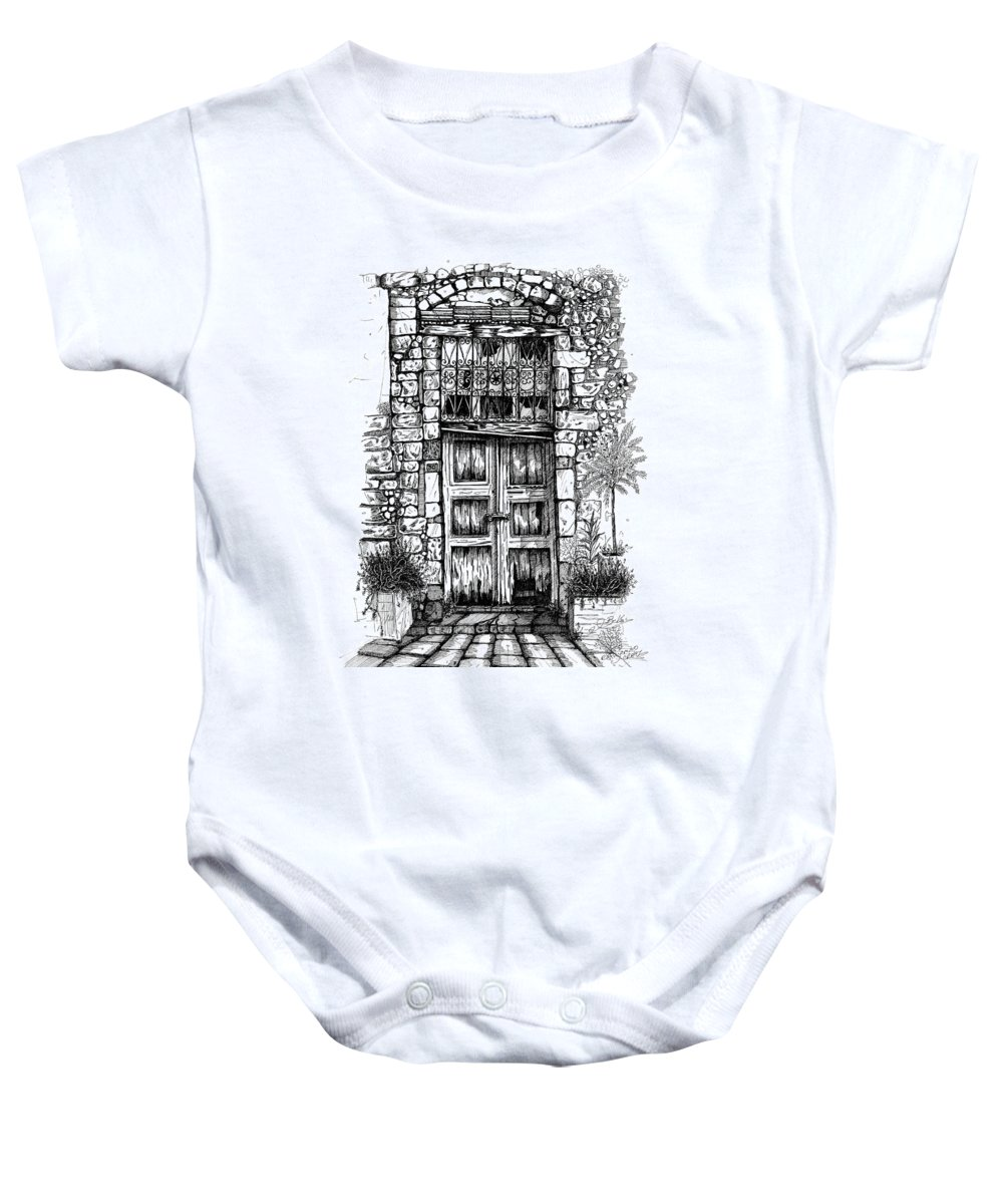 Arhitektura Prespective Baby Onesie featuring the drawing Old Venetian Door In Rethymno by Franko Brkac