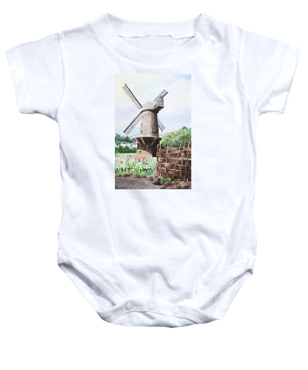 Windmill Baby Onesie featuring the painting Old Windmill by Masha Batkova