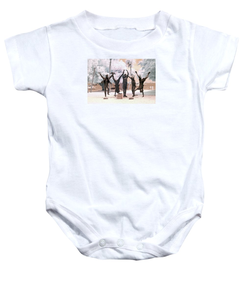 Near Baby Onesie featuring the photograph Olympic Wannabes Sculpture By Glenna Goodacre Near Infrared by Sally Rockefeller