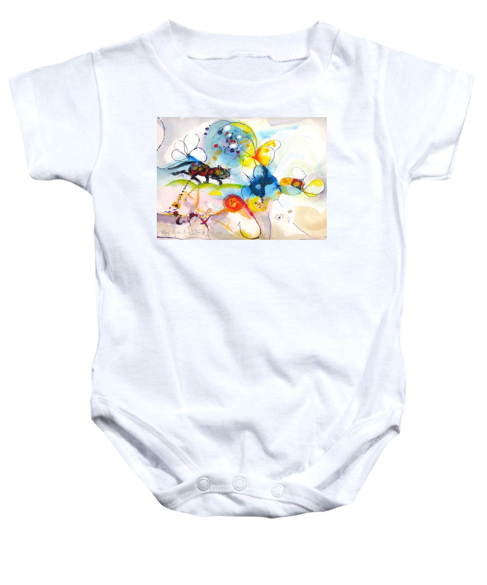 Mixed Media Baby Onesie featuring the painting On The Prowl by Mary Armstrong