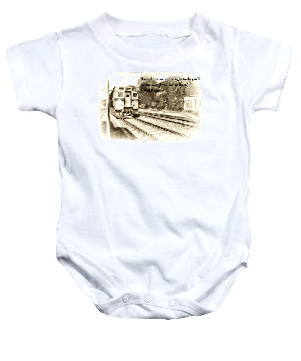 On The Right Track Baby Onesie featuring the photograph On The Right Track by Bill Cannon