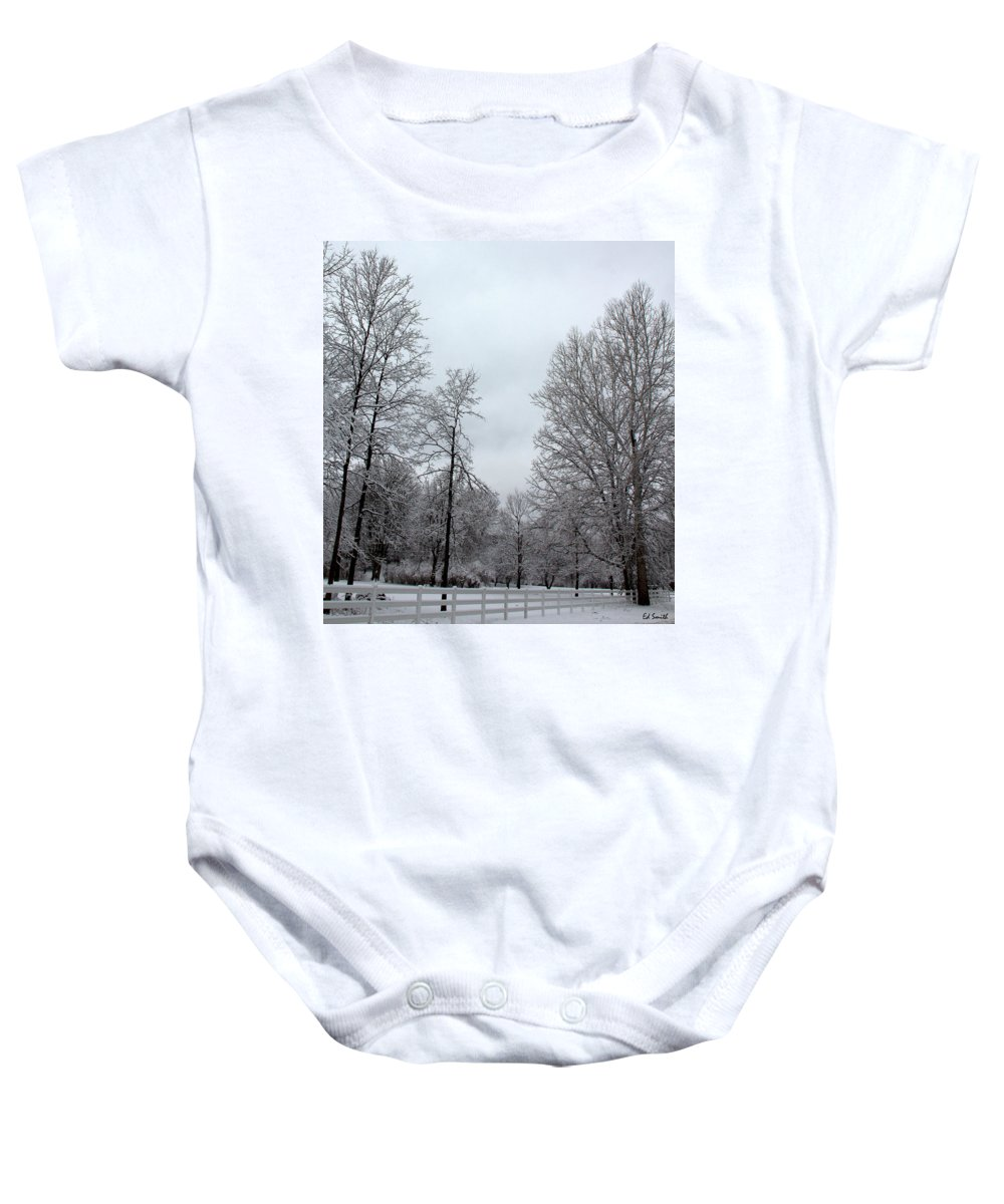 One Deer Land Baby Onesie featuring the photograph One Deer Land by Ed Smith