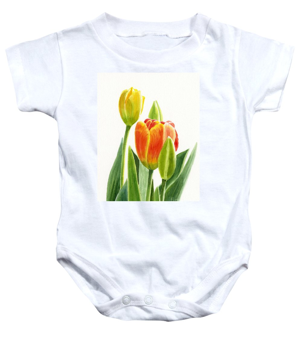 Tulip Baby Onesie featuring the painting Orange Tulip With Buds by Sharon Freeman