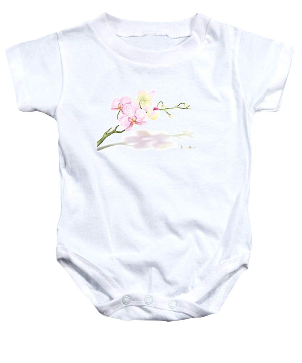 Nature Baby Onesie featuring the painting Orchidea by Veronica Minozzi