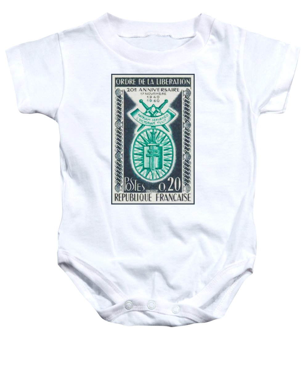 Order Of Release Baby Onesie featuring the painting Order Of The 20th Anniversary Release 17 November 1940 To 1960 Patriam Servando Victoriam Tulit by Jeelan Clark