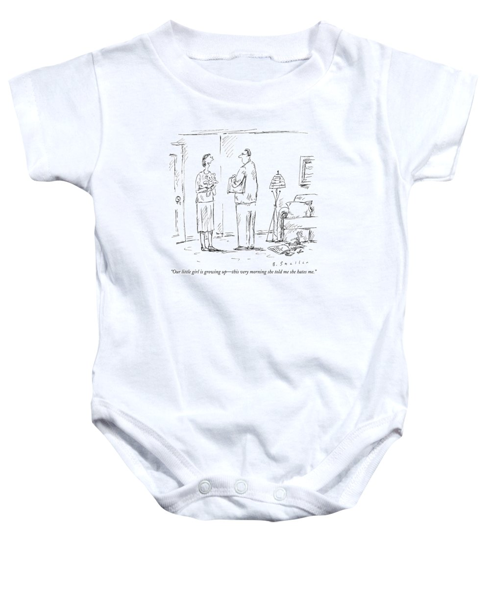 Hate Baby Onesie featuring the drawing Our Little Girl Is Growing Up - This Very Morning by Barbara Smaller