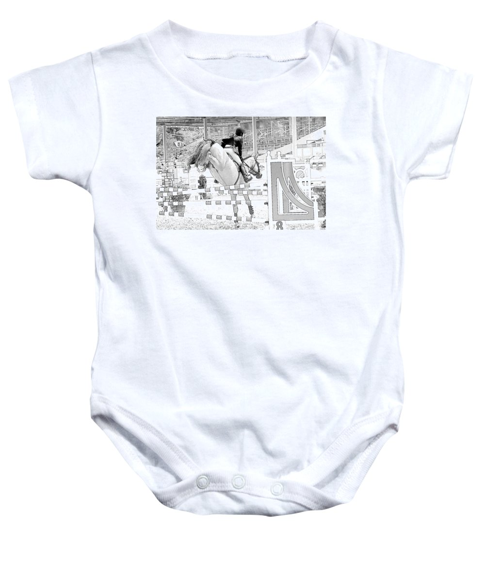 Horse Baby Onesie featuring the photograph Over The Jump by Alice Gipson