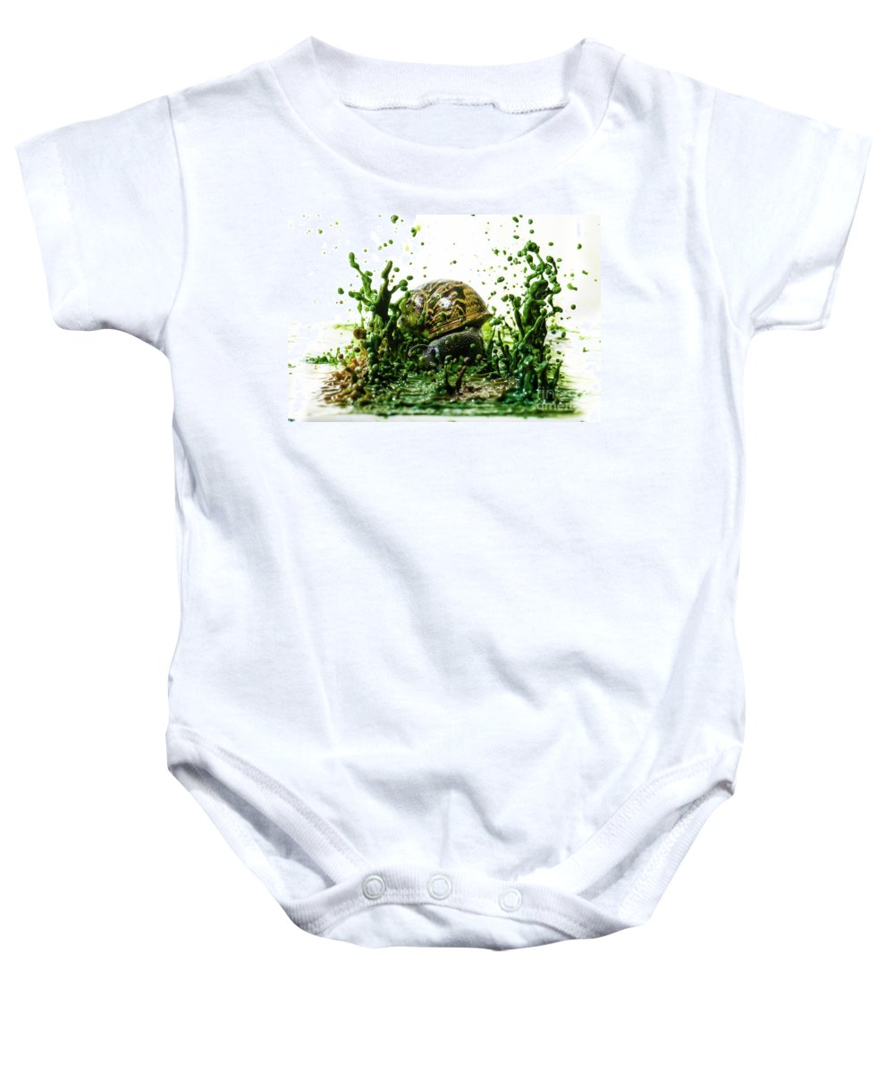 Impact Baby Onesie featuring the photograph Paint Sculpture And Snail 3 by Guy Viner