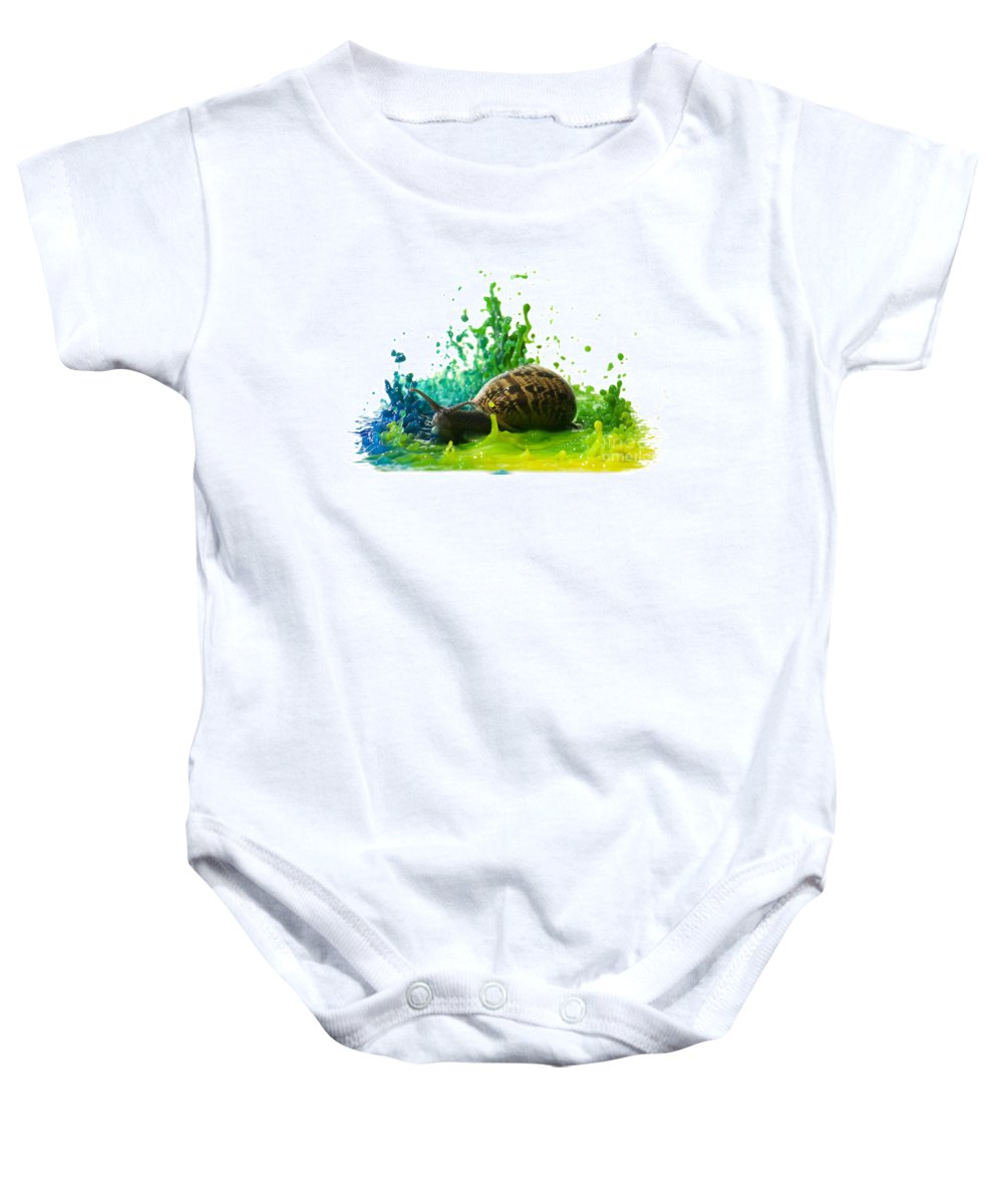 Impact Baby Onesie featuring the photograph Paint Sculpture And Snail 4 by Guy Viner
