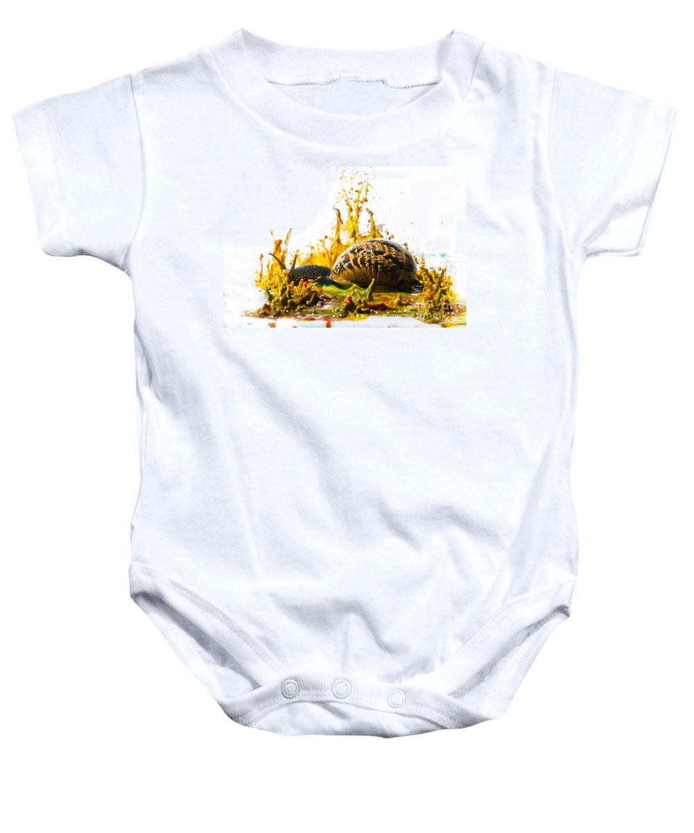 Creativity Baby Onesie featuring the photograph Paint Sculpture And Snail by Guy Viner