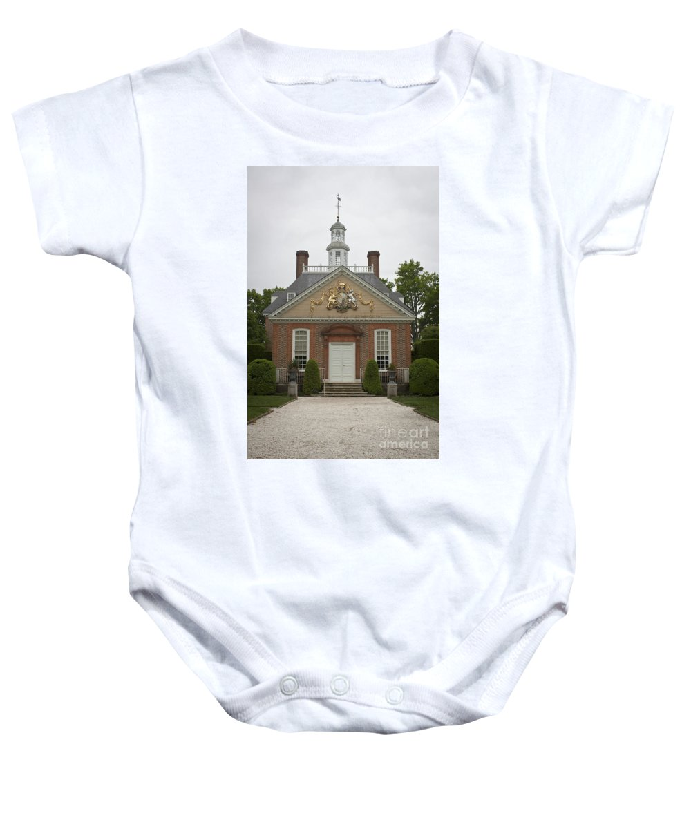 Williamsburg Baby Onesie featuring the photograph Palace Rear Entrance by Teresa Mucha