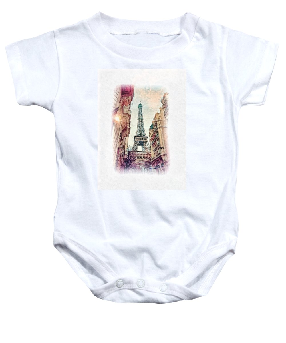 Paris Baby Onesie featuring the painting Paris Mon Amour by Mo T