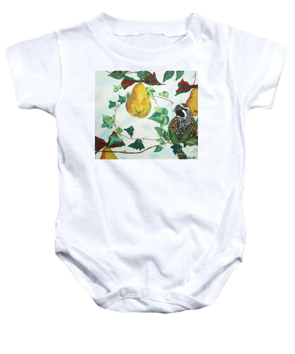 Tree Baby Onesie featuring the painting Partridge And Pears by Reina Resto