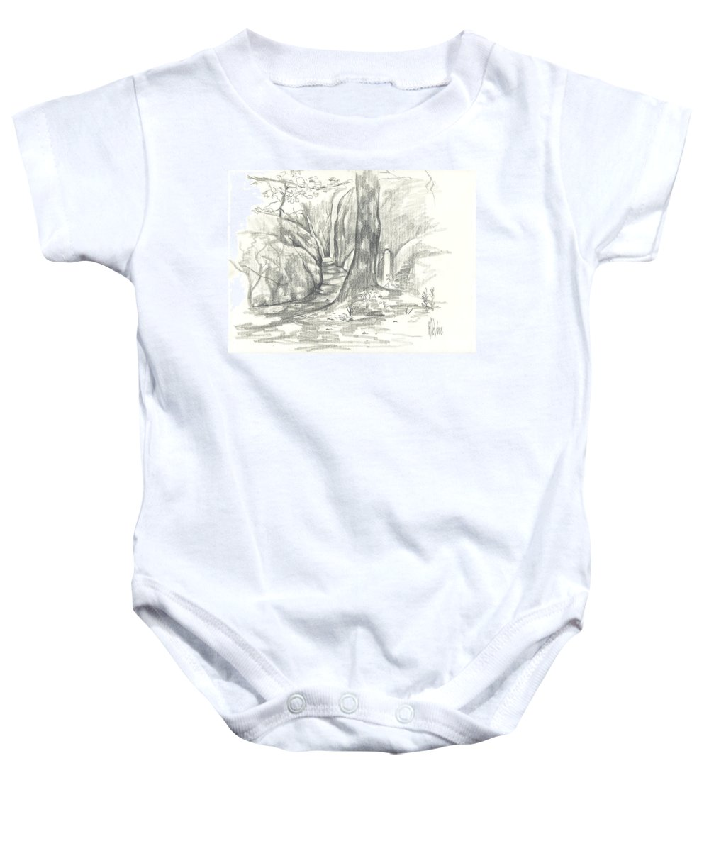 Passageway At Elephant Rocks Baby Onesie featuring the drawing Passageway At Elephant Rocks by Kip DeVore