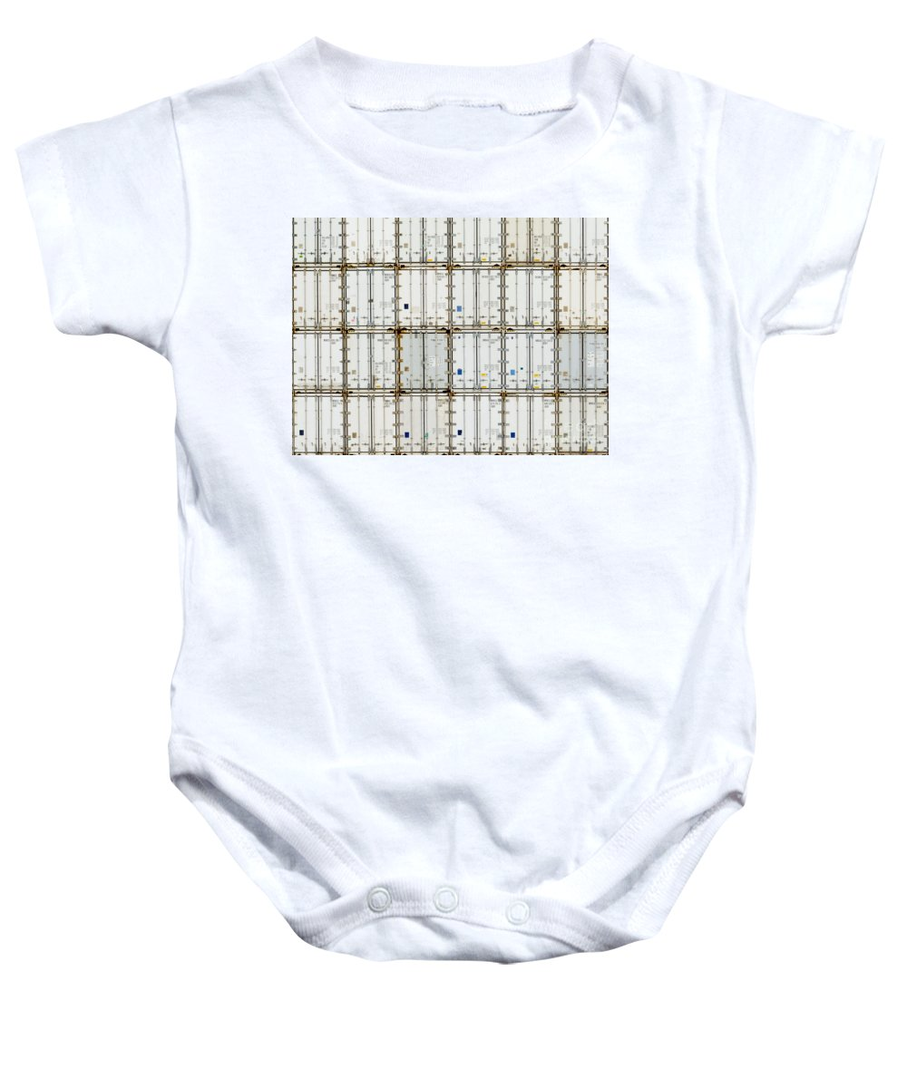 Background Baby Onesie featuring the photograph Pattern Of Shipping Container Stack At Depot by Stephan Pietzko