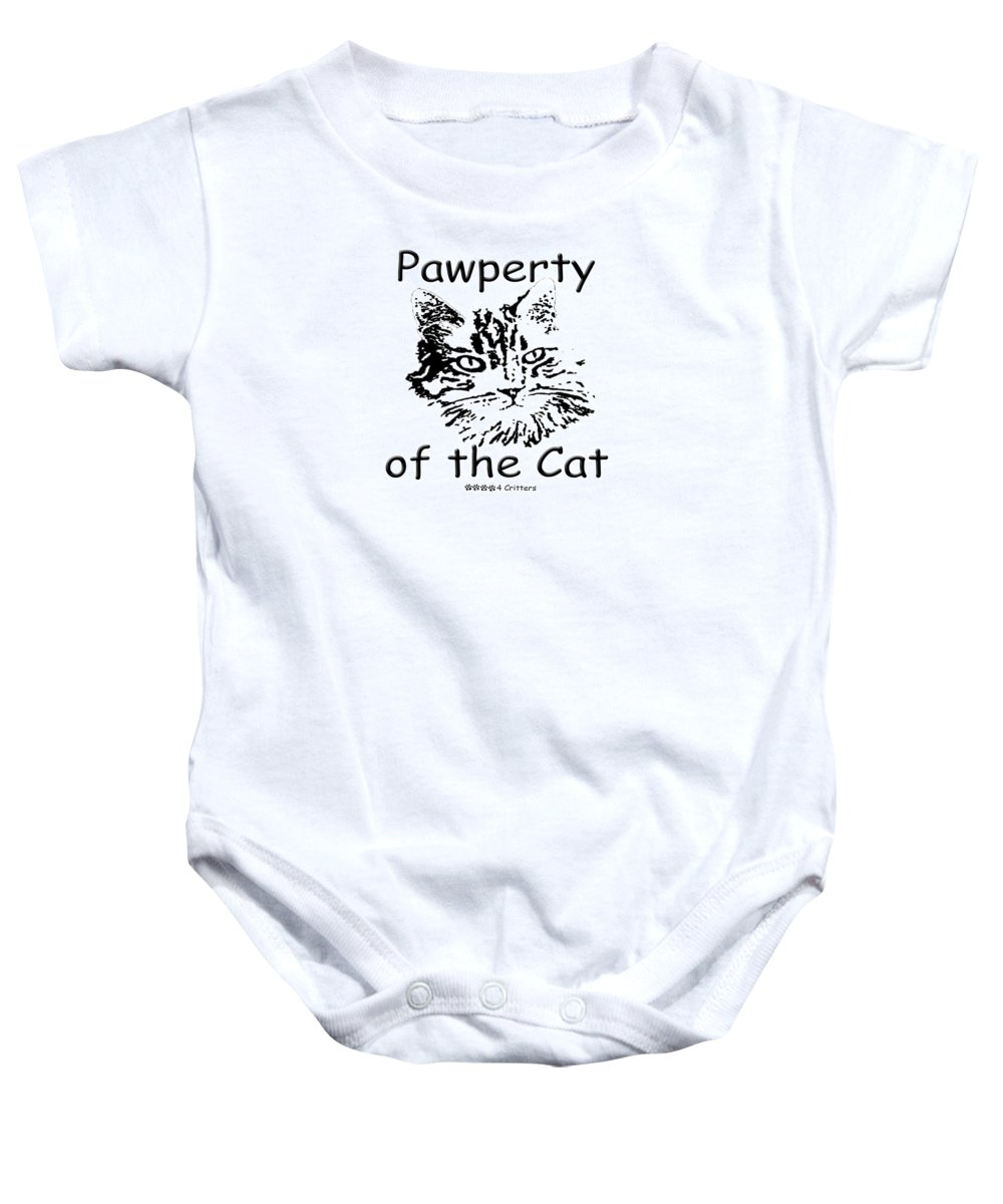 Pawperty Of The Cat Baby Onesie featuring the photograph Pawperty Of The Cat by Robyn Stacey