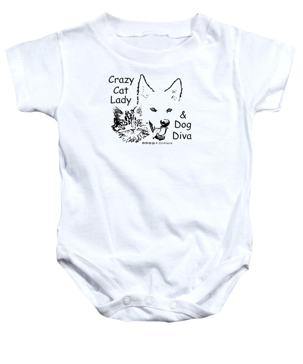 Crazy Cat Lady Baby Onesie featuring the photograph Paws4critters Crazy Cat Lady Dog Diva by Robyn Stacey
