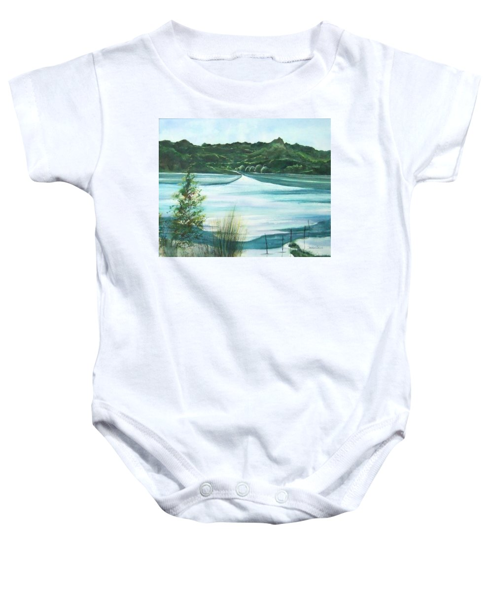 Lake Baby Onesie featuring the painting Peaceful Lake by Debbie Lewis