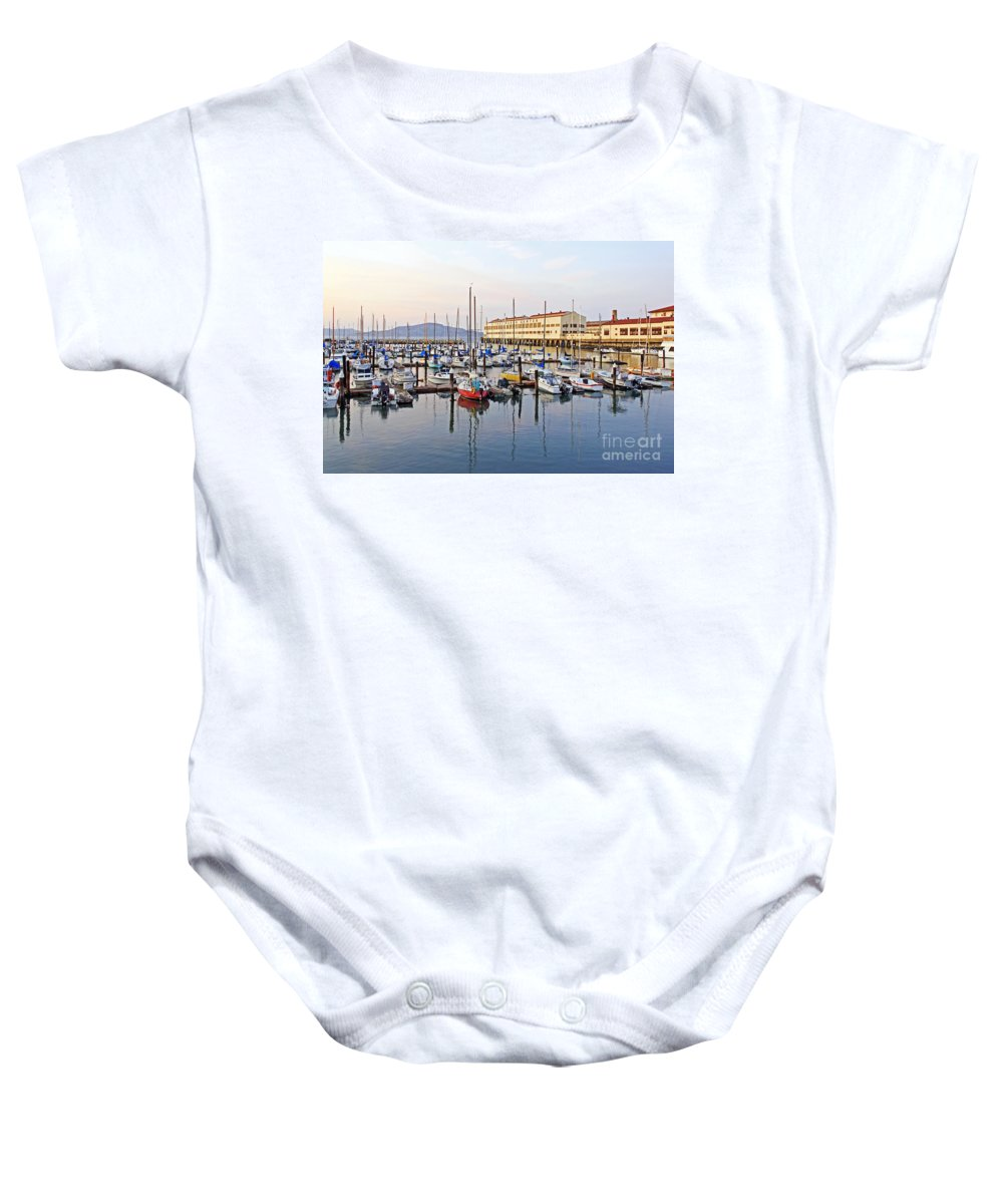 Kate Brown Baby Onesie featuring the photograph Peaceful Marina by Kate Brown