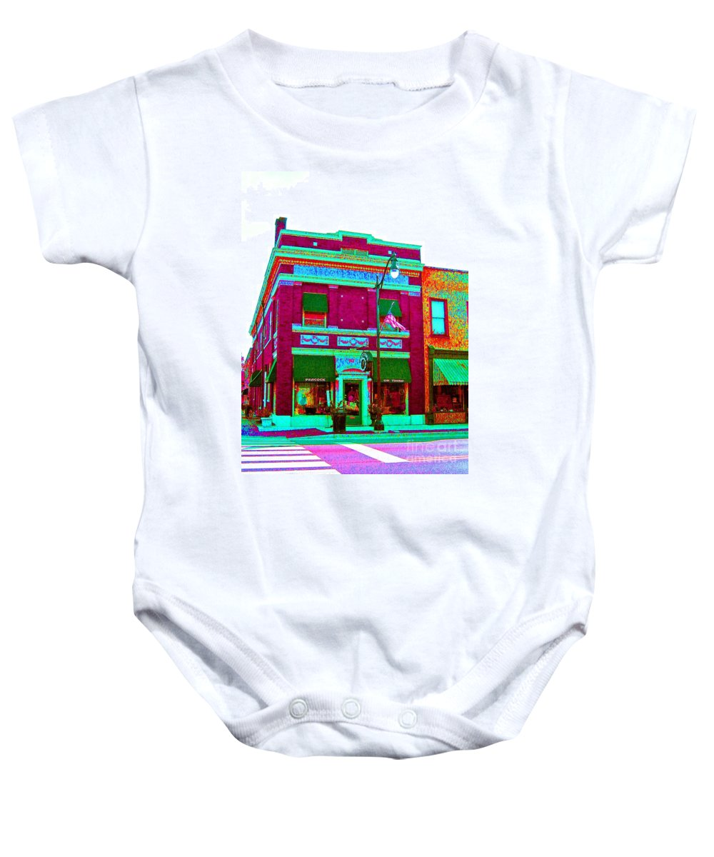 Computer Graphics Baby Onesie featuring the photograph Peacock On Third Through Rose Colored Glasses by Marian Bell