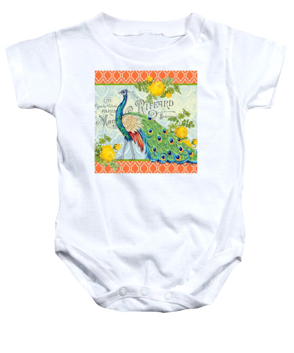 Acrylic Painting Baby Onesie featuring the painting Peacocks In The Rose Garden-3 by Jean Plout