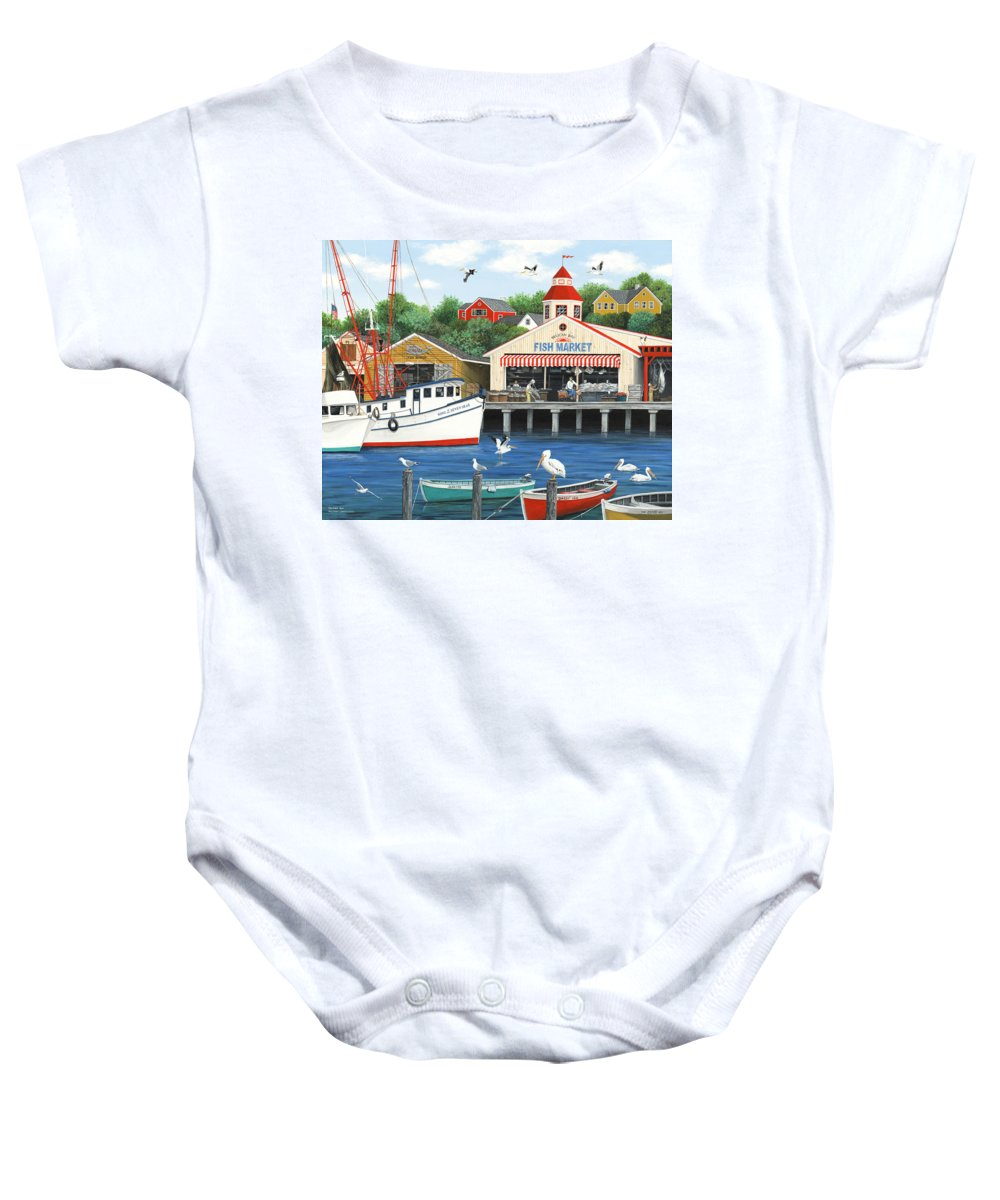 Folk Art Baby Onesie featuring the painting Pelican Bay by Wilfrido Limvalencia