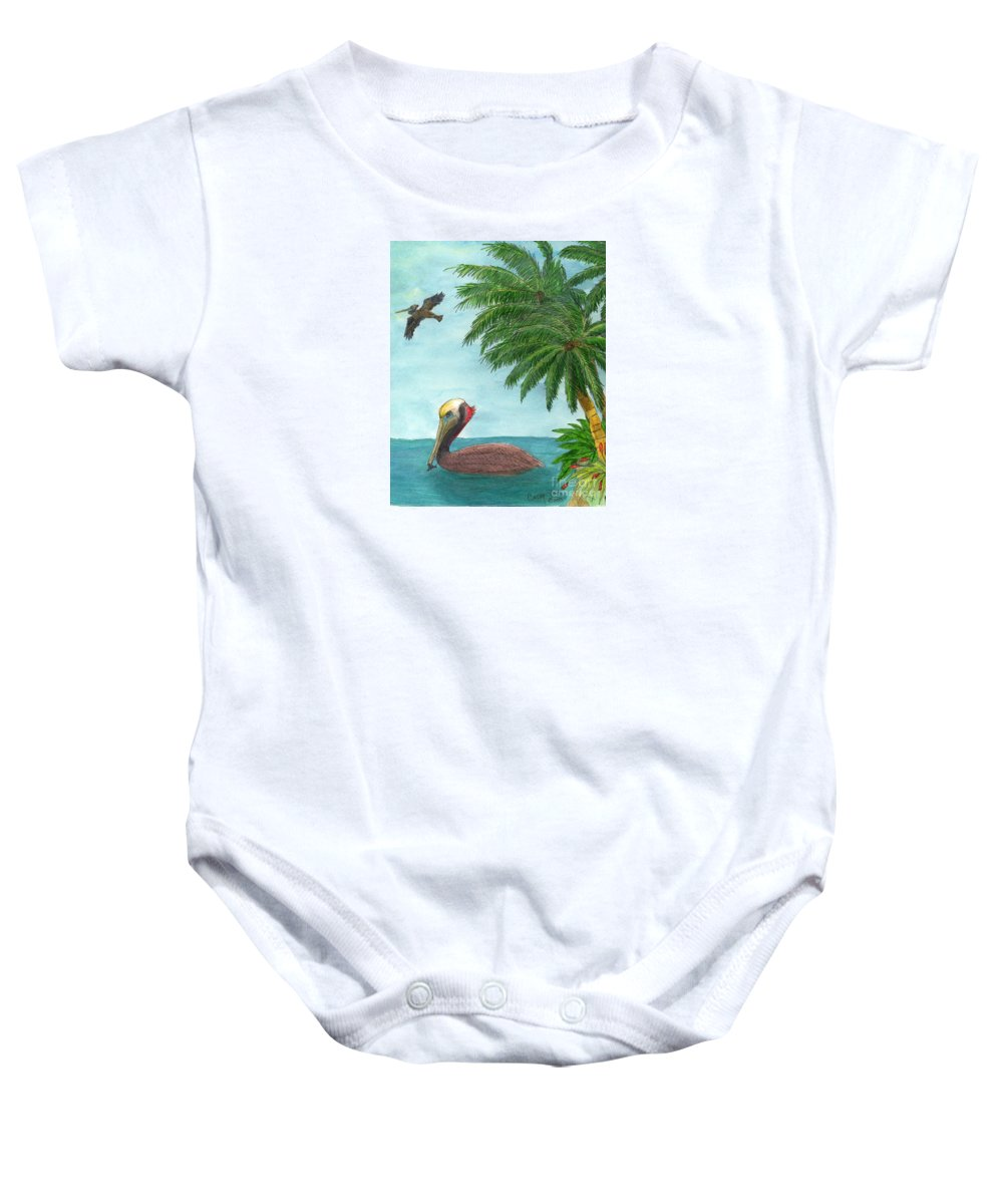Brown Baby Onesie featuring the painting Pelicans Palm Trees Tropical Birds Cathy Peek by Cathy Peek