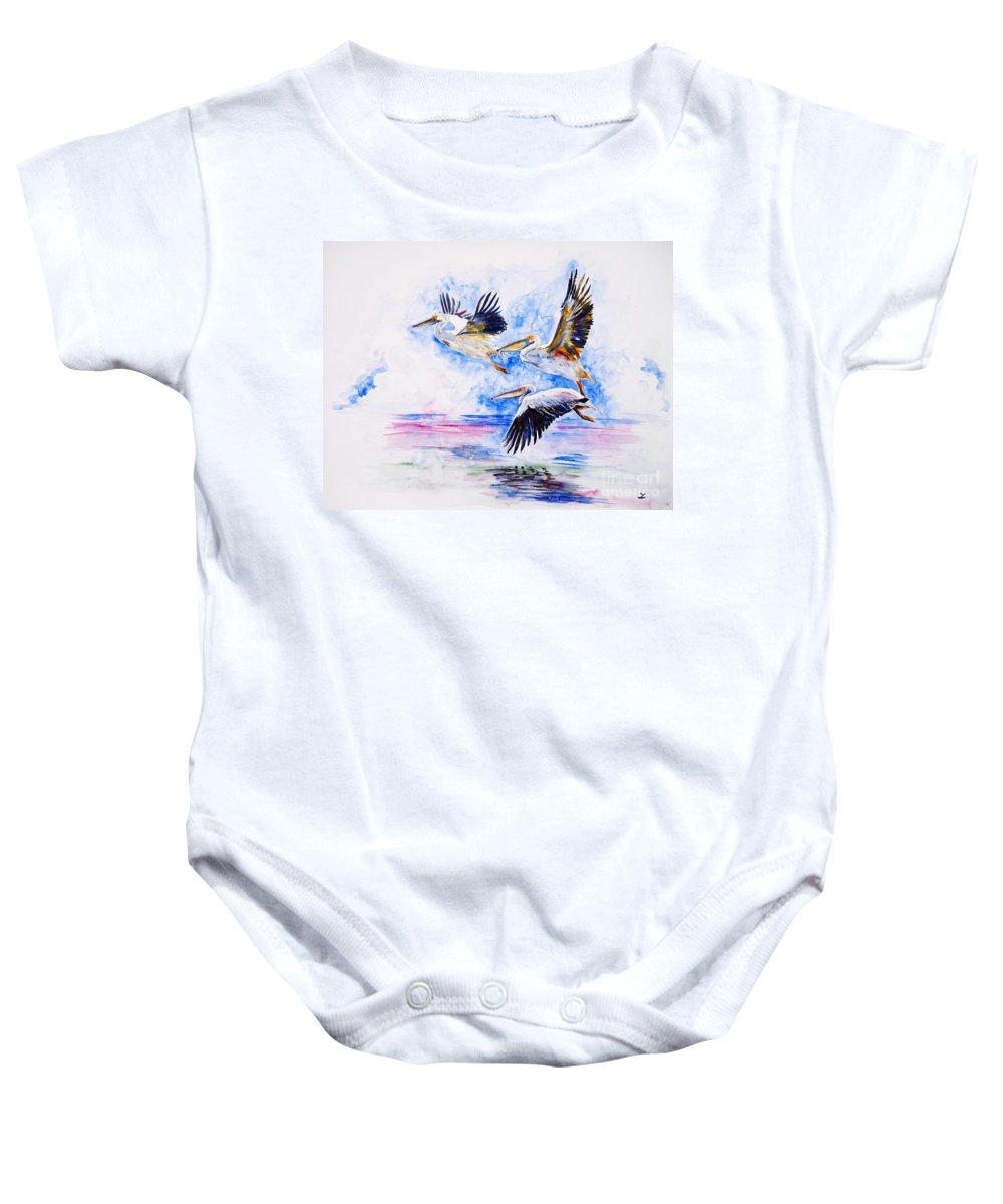 Pelicans Baby Onesie featuring the painting Pelicans by Zaira Dzhaubaeva