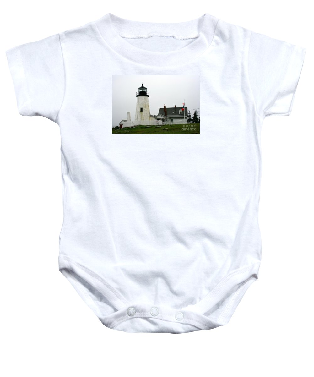 Lighthouse Baby Onesie featuring the photograph Pemaquid Point Light In The Rain - Maine by Christiane Schulze Art And Photography