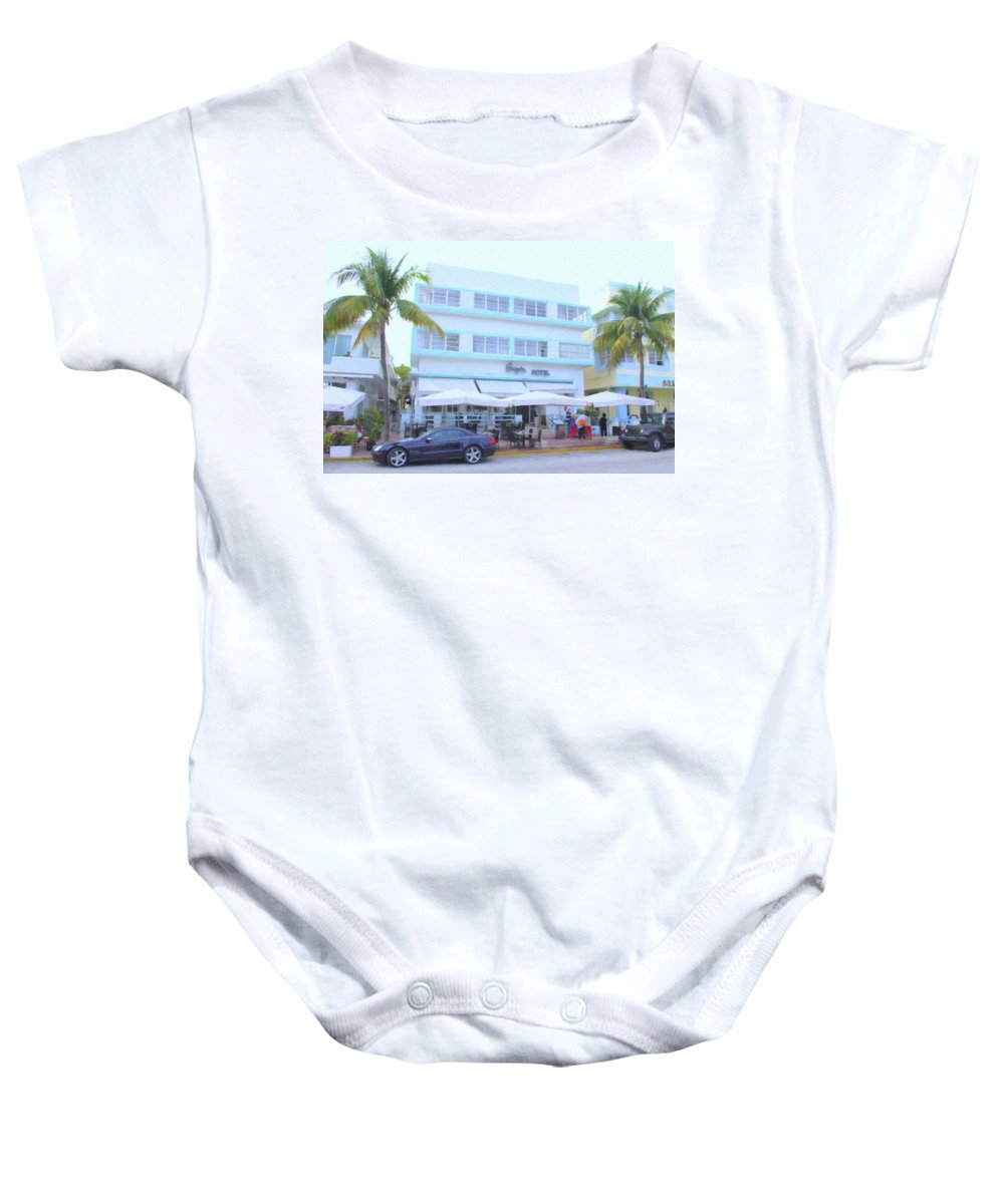 Art Deco Baby Onesie featuring the photograph Penguin Hotel by Tom Reynen