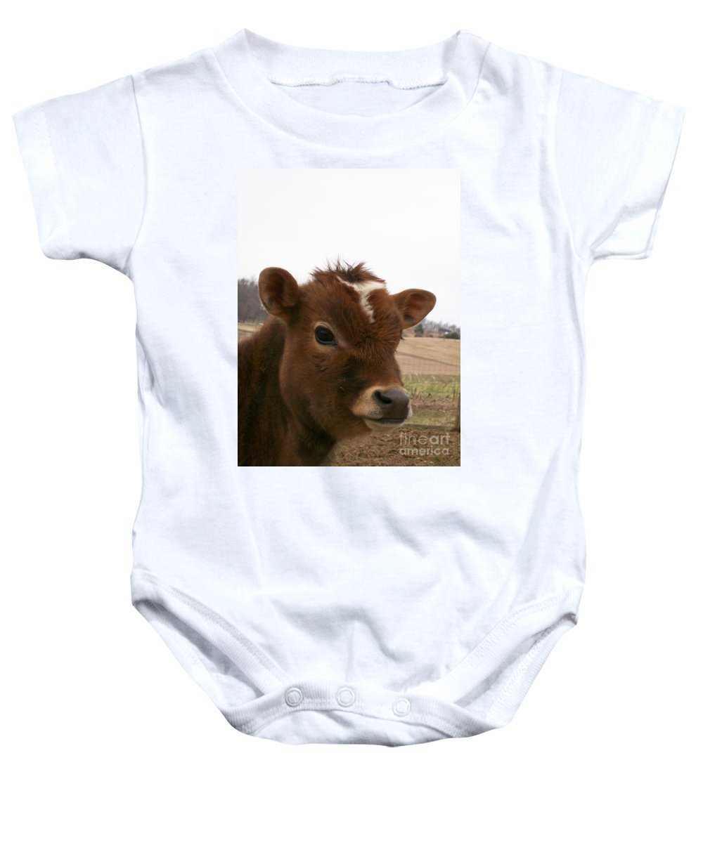 Cow Baby Onesie featuring the photograph Perfect Stance by Sara Raber