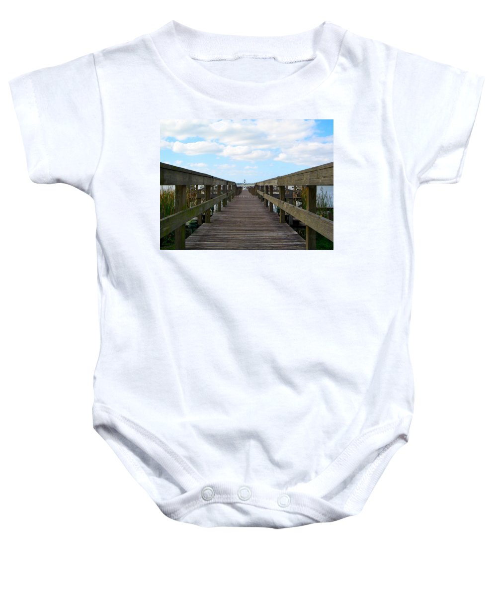 Pier Baby Onesie featuring the photograph Perspective Lighthouse by Denise Mazzocco