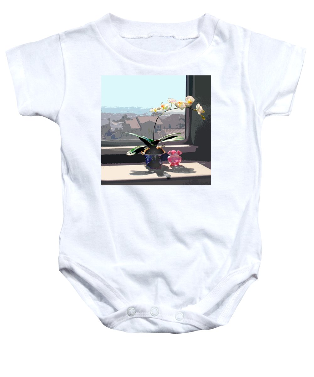 Orchid Baby Onesie featuring the painting Phalaenopsis Orchid In Sunny Window by Elaine Plesser