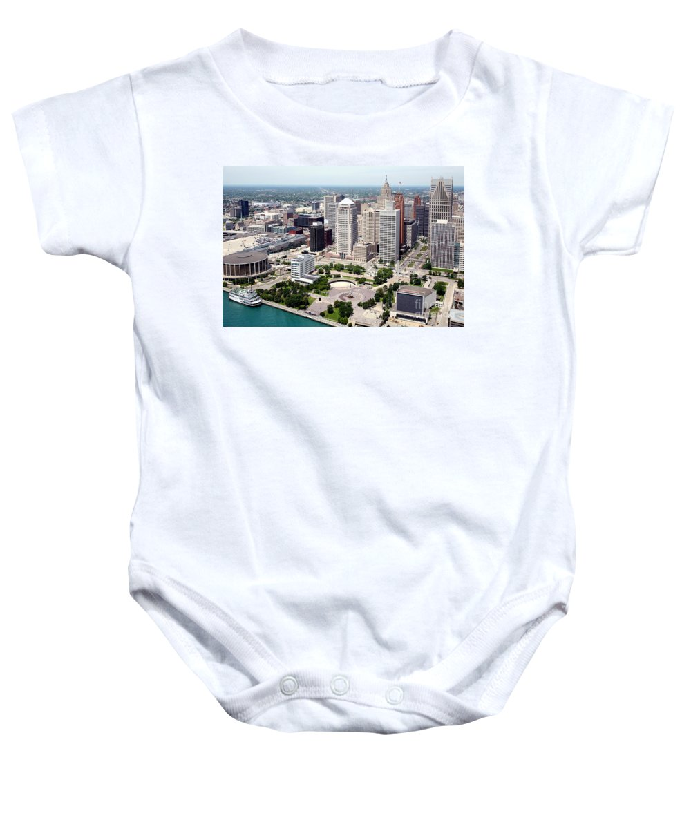 Hart Plaza Baby Onesie featuring the photograph Philip A Hart Plaza Detroit by Bill Cobb
